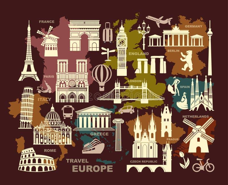 La collection de l'Europe a détaillé des silhouettes Points de repère réglés de voyage Illustration de vecteur illustration libre de droits