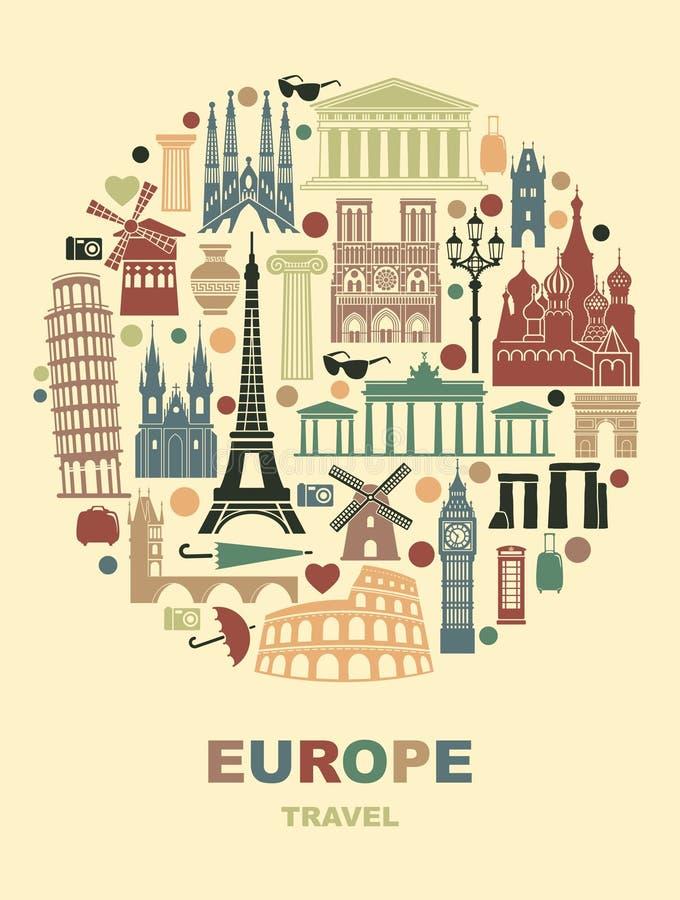 La collection de l'Europe a détaillé des silhouettes Points de repère réglés de voyage sous forme de cercle Illustration de vecte illustration libre de droits
