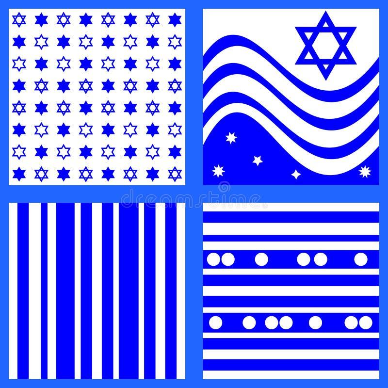 La collection de modèles blancs bleus a inspiré par le drapeau israélien illustration libre de droits