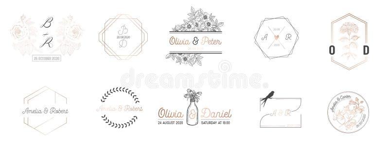 La collection de monogramme de mariage, le Minimalistic moderne et les calibres floraux pour des cartes d'invitation, font gagner illustration de vecteur