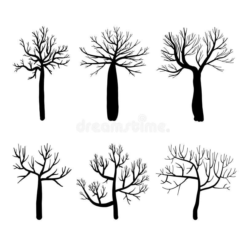 La collection de silhouettes d'arbres, a isolé les arbres nus réglés sur le fond blanc illustration stock