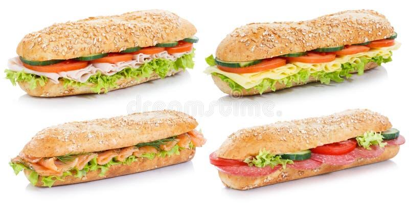 La collection de sous sandwichs avec des saumons de fromage de jambon de salami pêchent images libres de droits
