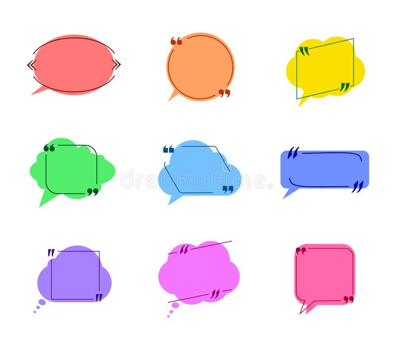 La collection de vecteur de bulles colorées de la parole avec des cadres de citation a isolé les nuages plats illustration stock