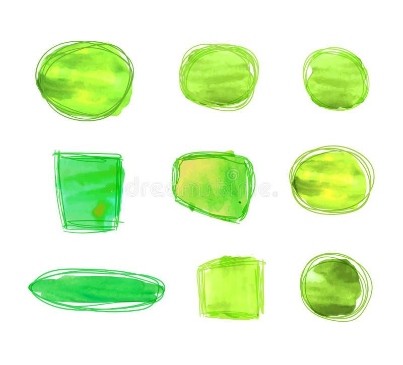 La collection de vecteur de cadres verts d'Eco, concept de produit naturel, frontières a placé d'isolement sur le fond blanc illustration libre de droits