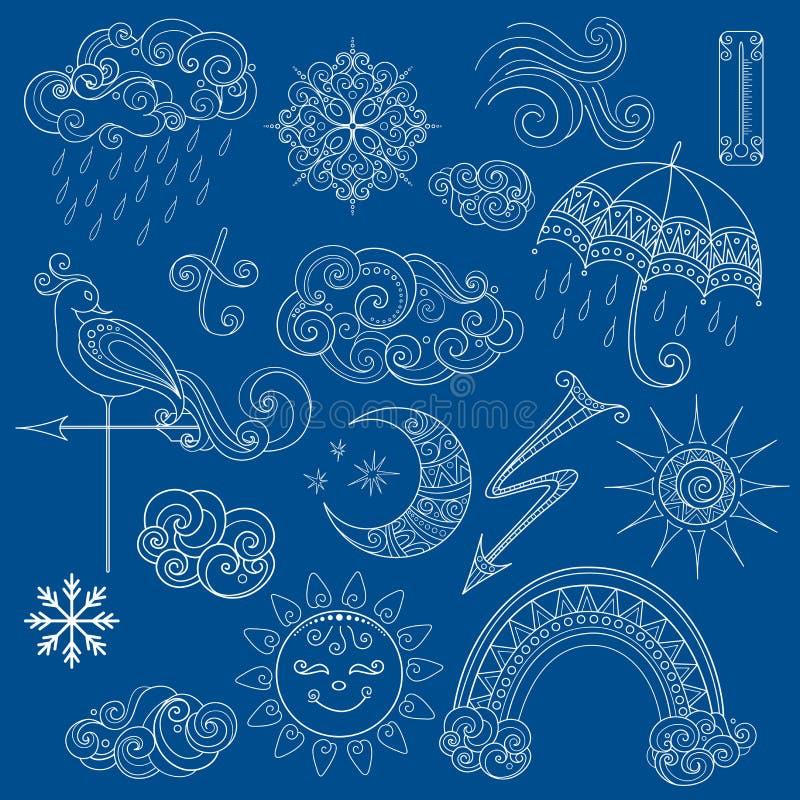 La collection de vecteur de temps signe dedans le style de conte de fées illustration de vecteur