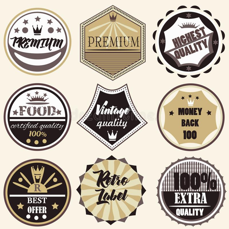 La collection de vintage de vecteur marque la qualité de la meilleure qualité illustration stock