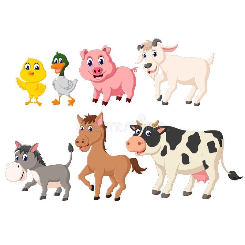 La collection des animaux de bétail avec les différentes espèces illustration de vecteur