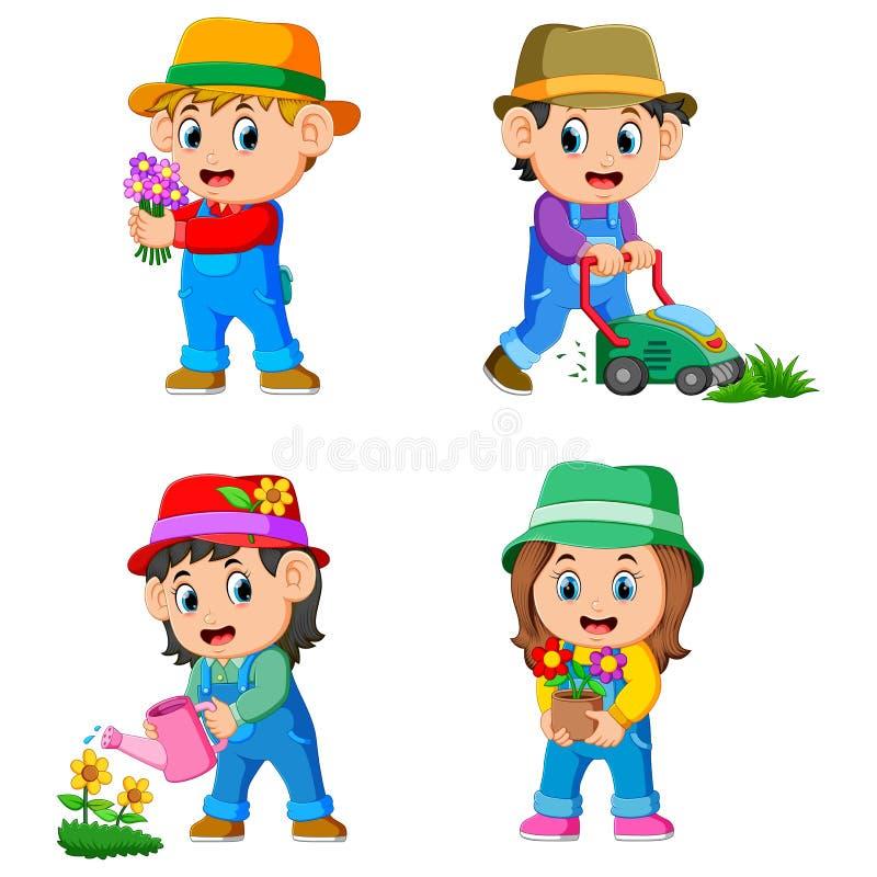 La collection des enfants faisant les activités de jardin illustration stock