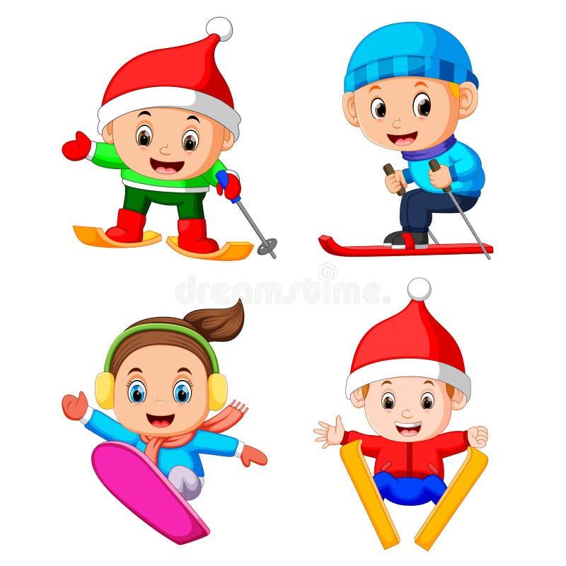 La collection des enfants professionnels jouant au patinage de glace illustration de vecteur
