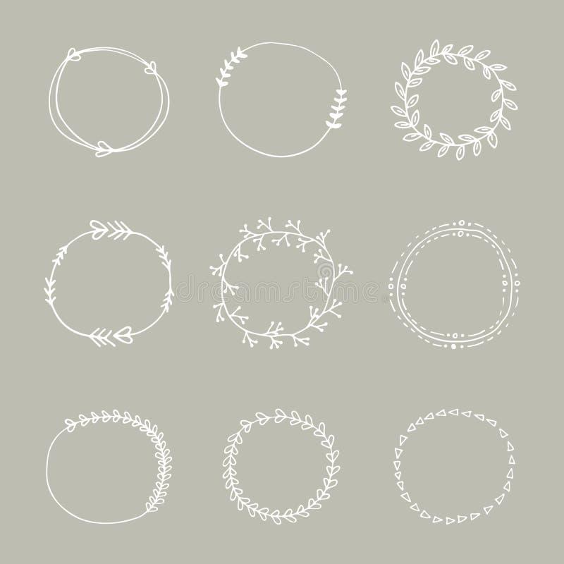 La collection du cercle tiré par la main de conception de mariage encadre des éléments Cadres tirés par la main de griffonnage illustration libre de droits
