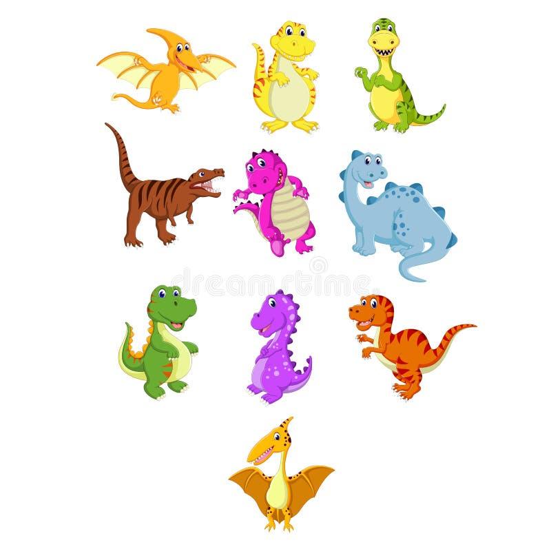 La collection du petit dinosaure avec les différentes espèces illustration stock
