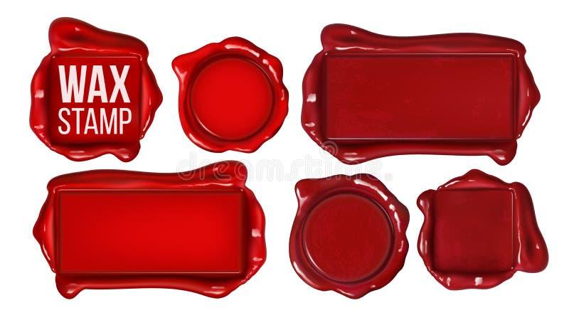 La collection du timbre rouge de cire a placé le vecteur d'espace de copie illustration de vecteur