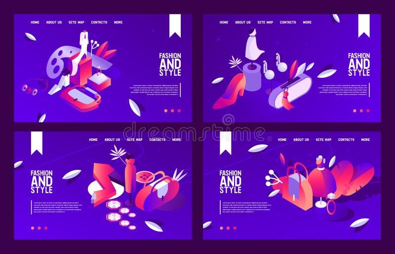 La collection isométrique de bannières de vecteur avec des femmes façonnent des objets Scènes de nuit dessinées avec le rose vif  illustration stock