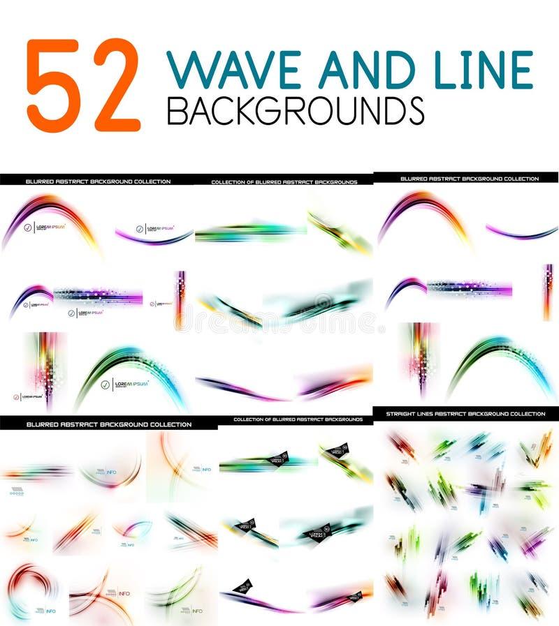 La collection méga de couleur a brouillé des vagues et des éléments de conception de modèle de lignes droites illustration libre de droits