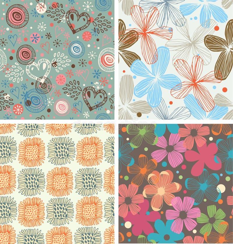 La collection mignonne de modèles floraux a placé de beaux milieux peu communs avec des fleurs illustration stock