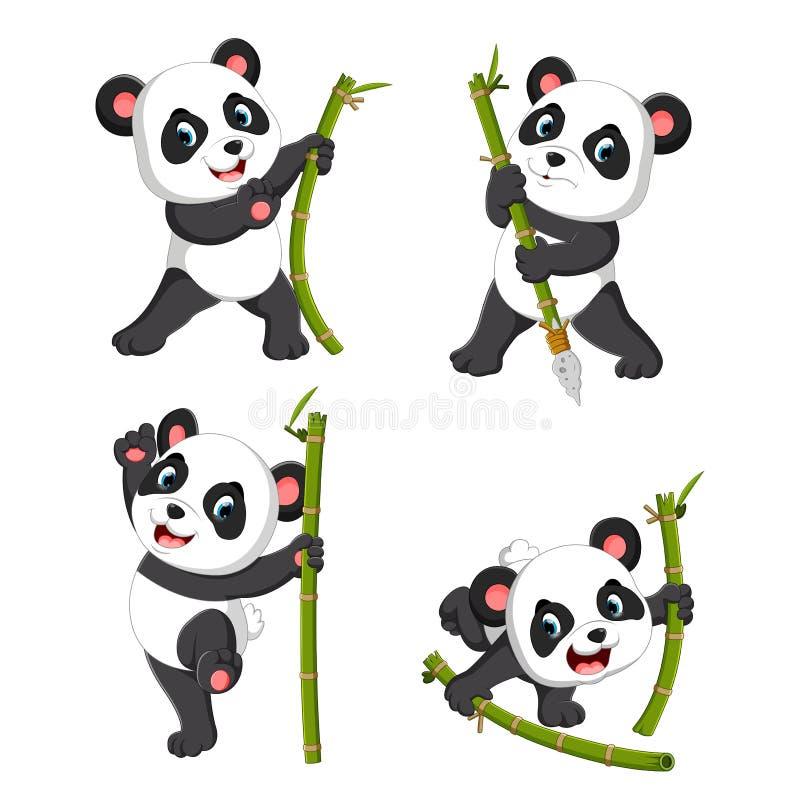 La collection mignonne du panda palying avec le bambou vert illustration de vecteur