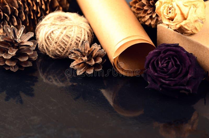 La collection naturelle d'articles pour handcraft (papier, pin et c impeccable image stock