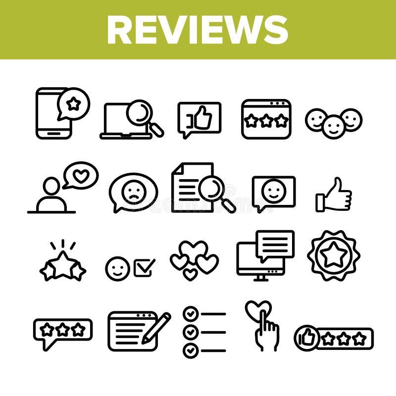 La collection passe en revue la ligne mince vecteur d'ensemble d'icônes illustration libre de droits