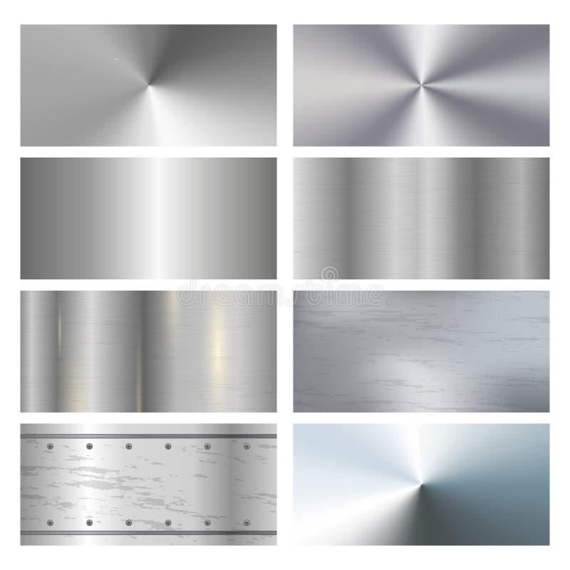 La collection réaliste d'icônes de texture de finissage de surface métallique avec le satin a balayé et les échantillons de poli illustration stock