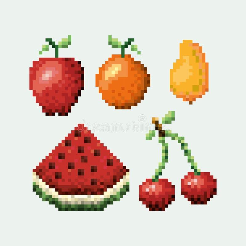 La collection réglée pixelated par couleur porte des fruits des icônes illustration stock
