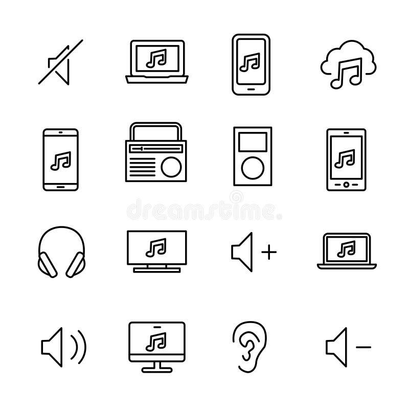 La collection simple de musique mobile a rapporté la ligne icônes illustration libre de droits