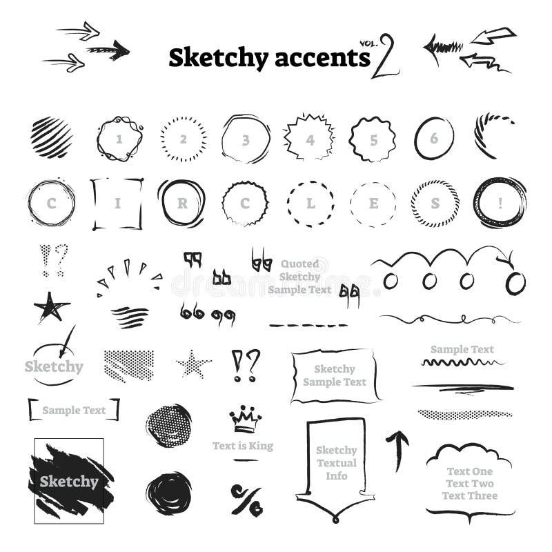 La collection tirée par la main peu précise d'éléments de conception graphique de griffonnage d'encre - milieux, cadres, cercles, illustration stock