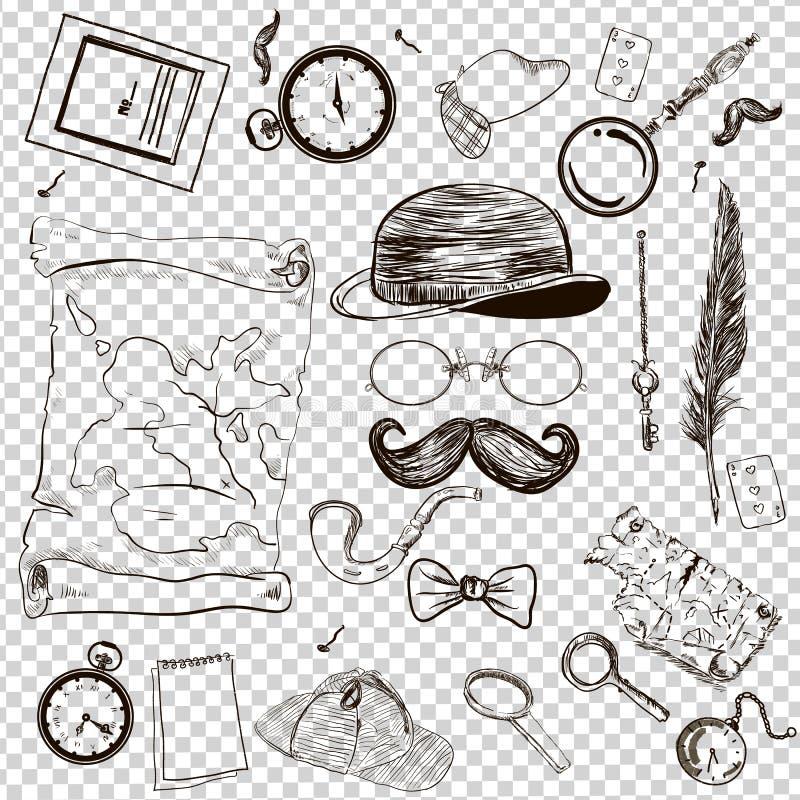 La collection victorienne d'ère, accessoires de vintage du ` s de monsieur gribouillent l'ensemble illustration libre de droits