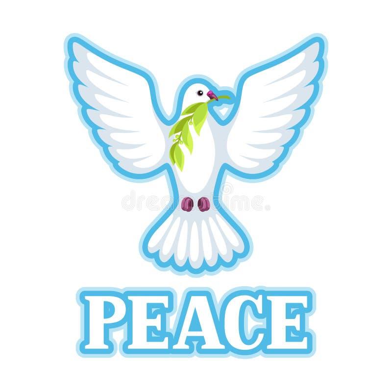 La colombe blanche de la paix soutient la branche d'olivier illustration de vecteur