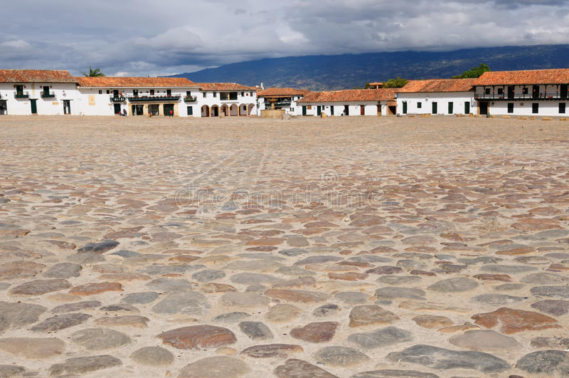 La Colombia, architettura coloniale di Villa de Leyva immagine stock