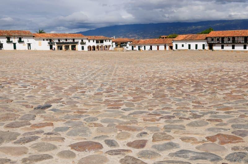 La Colombie, architecture coloniale de Villa de Leyva image stock