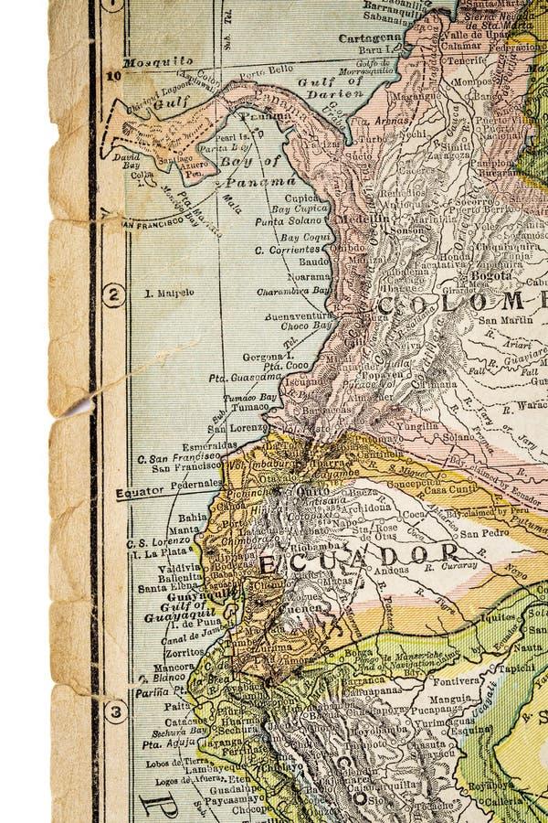 La Colombie et l'Equateur sur la carte de vintage photos libres de droits