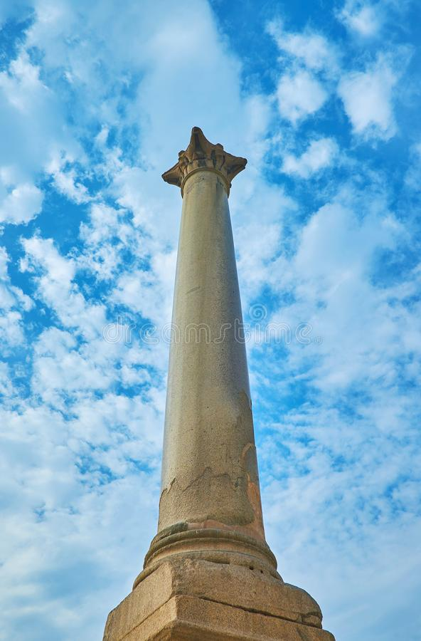 La colonna antica in Alessandria d'Egitto, Egitto di vittoria fotografie stock libere da diritti