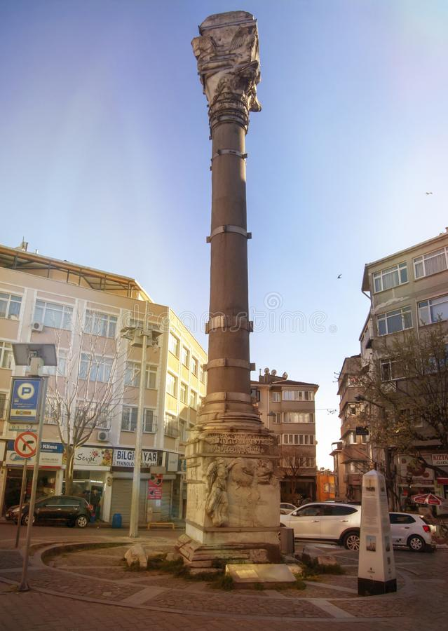 La colonna di Marcian Turkish: Kıztaşı un monumento onorificamente in Fatih fotografia stock libera da diritti