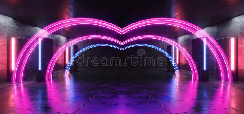 La colonne bleue de pourpre futuriste de Sci fi de lampes au néon de club d'étape a formé le couloir concret rougeoyant de tunnel illustration de vecteur