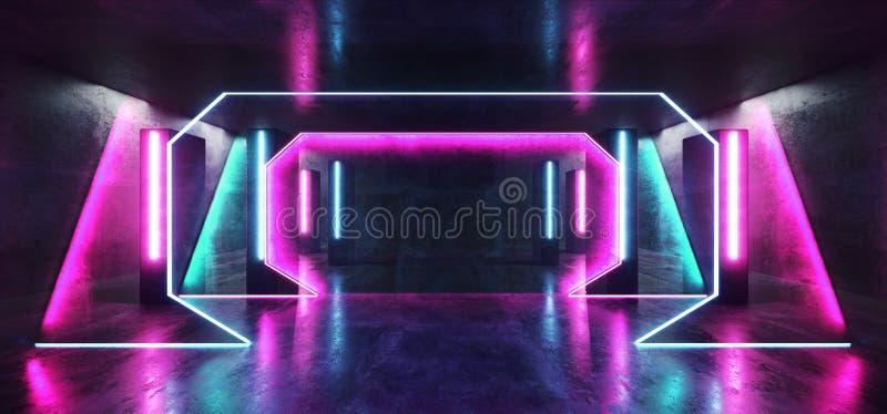 La colonne bleue de pourpre futuriste de Sci fi de lampes au néon de club d'étape a formé le couloir concret rougeoyant de tunnel illustration stock