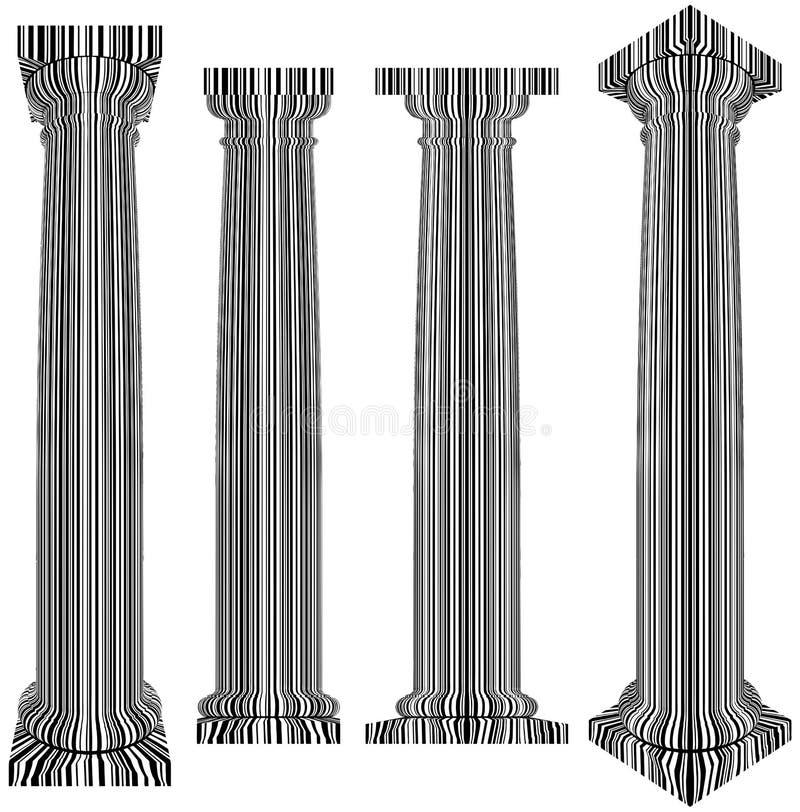 La colonne classique couverte de zèbre de code barres barre le vecteur illustration de vecteur