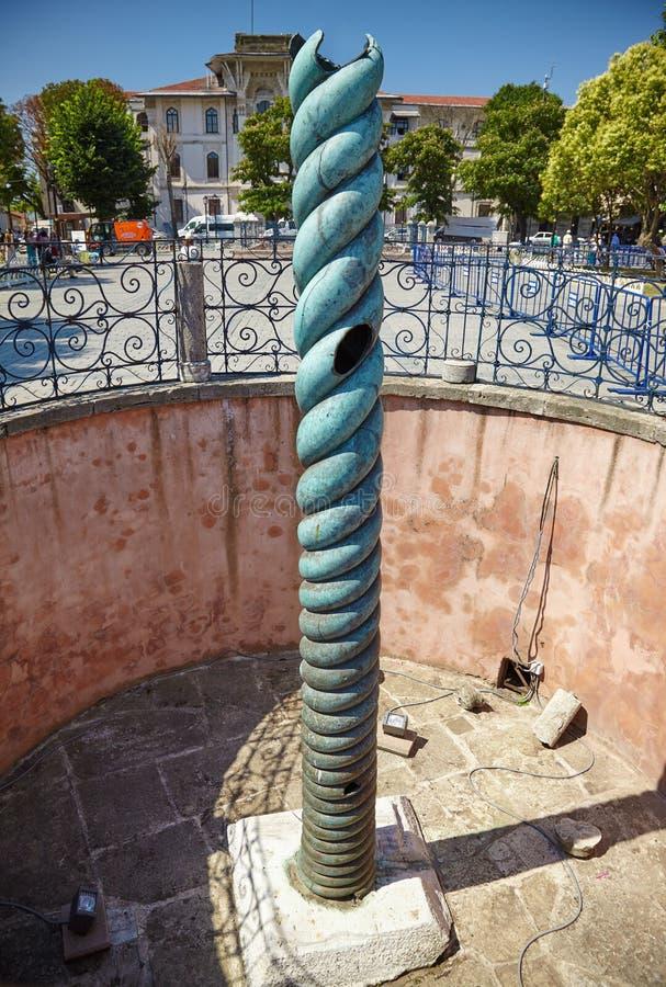 La colonne de serpent sur l'hippodrome d'Istanbul photos stock