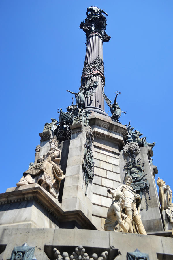 La columna de Columbus en Barcelona. imagen de archivo libre de regalías