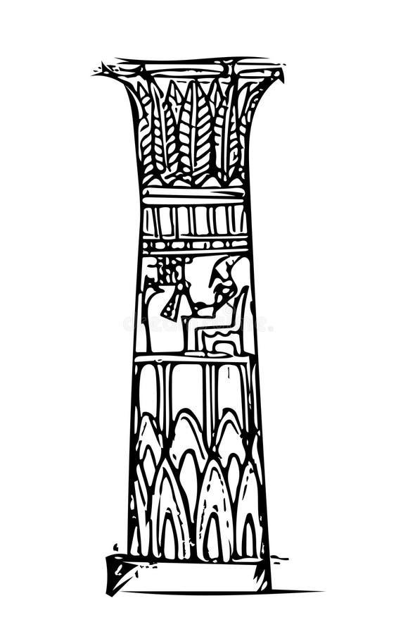 La columna en el templo egipcio stock de ilustración