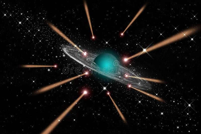 La comète vont à la planète de gaz photographie stock