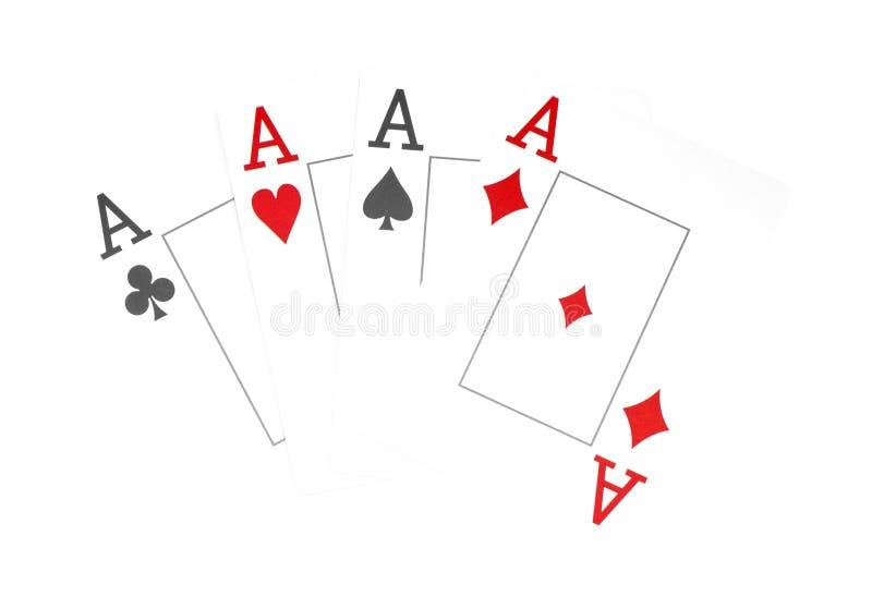 La combinaison du casino de tisonnier de cartes de jeu, d'isolement sur le fond blanc, as photos libres de droits