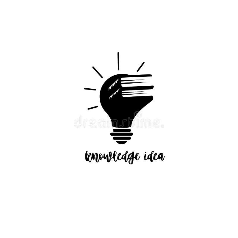 La combinaison minimale de logo du livre et l'ampoule dirigent l'illustration illustration de vecteur