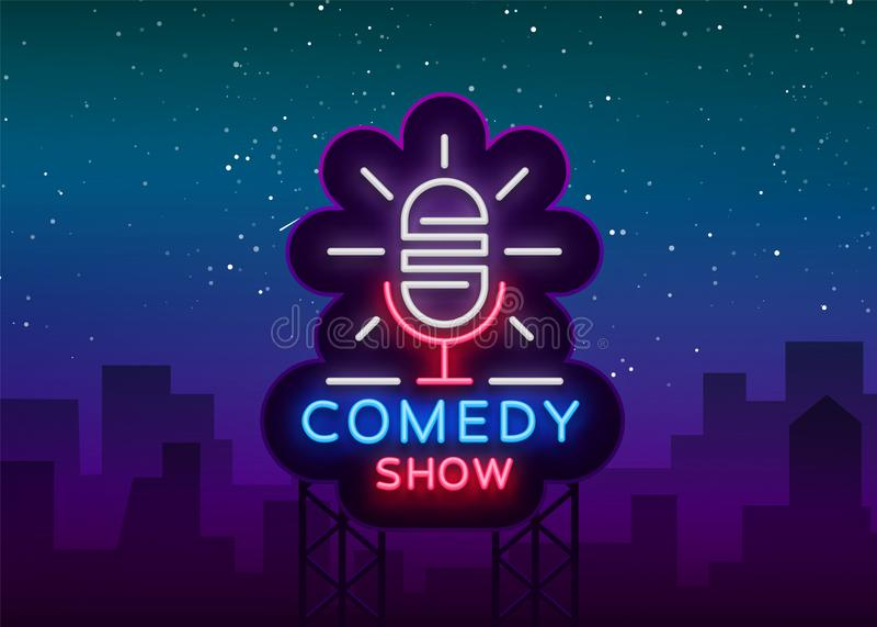 La comedia coloca para arriba la invitación es una señal de neón Logotipo, aviador brillante del emblema, cartel ligero, bandera  libre illustration