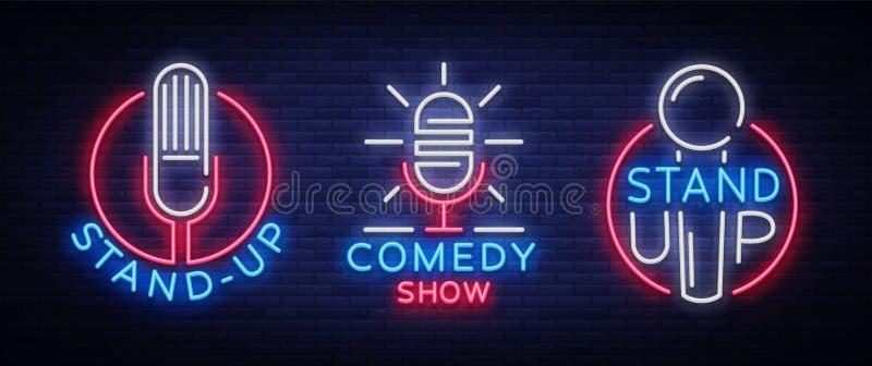 La comedia se levanta una colección de la invitación de señales de neón El sistema del logotipo, simboliza el aviador brillante,  ilustración del vector