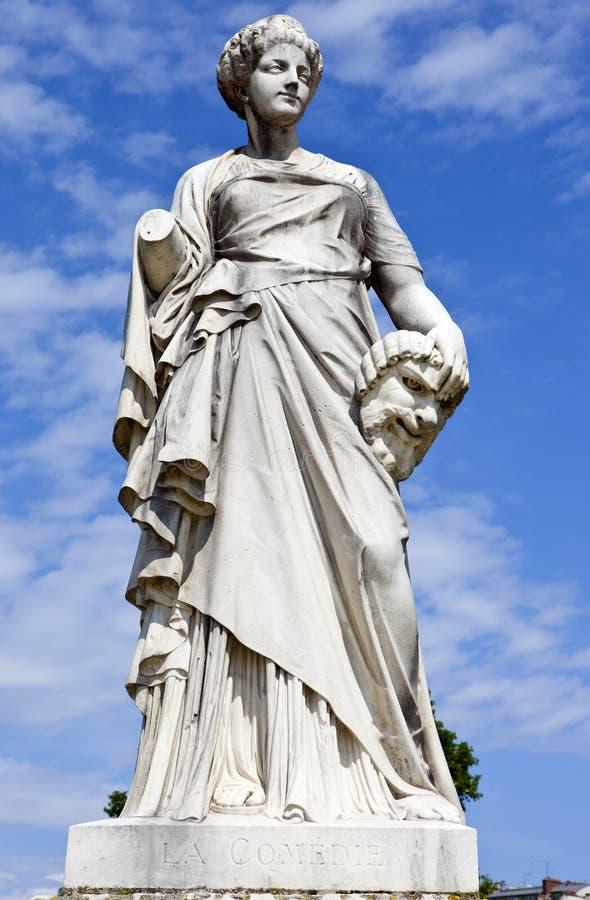 La Comedie Statue in Jardin des Tuileries in Paris stock photos