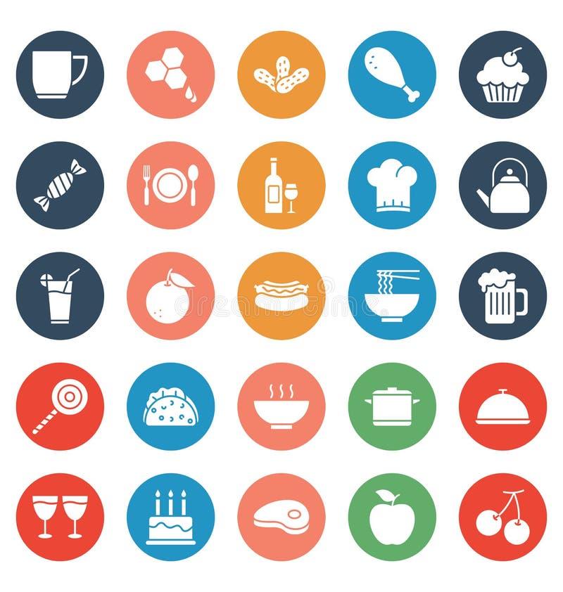 La comida, bebidas, frutas, verduras que los iconos del vector fijan eso puede ser modificada o corregir fácilmente libre illustration