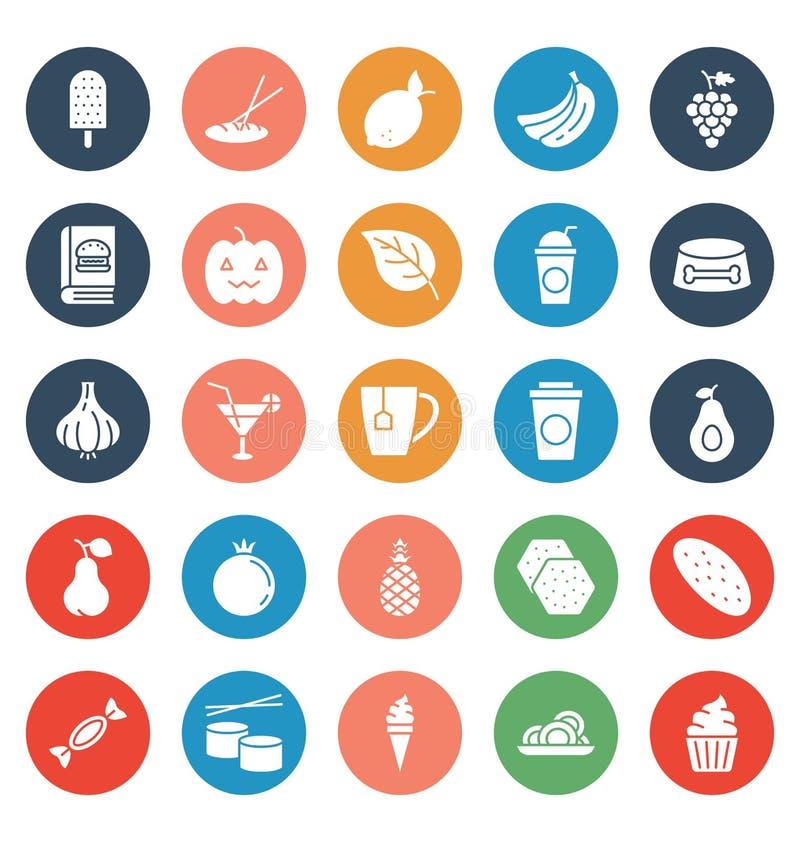 La comida, bebidas, frutas, verduras que los iconos del vector fijan eso puede ser modificada o corregir fácilmente stock de ilustración