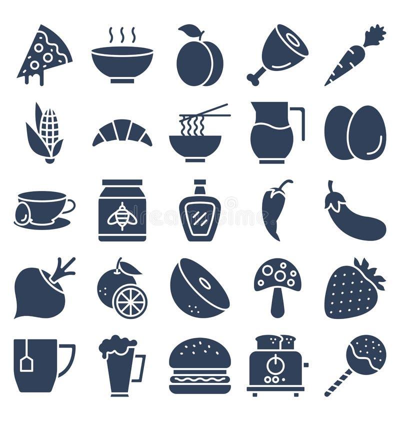 La comida, bebidas, frutas, verduras que los iconos del vector fijan eso puede ser modificada o corregir fácilmente ilustración del vector