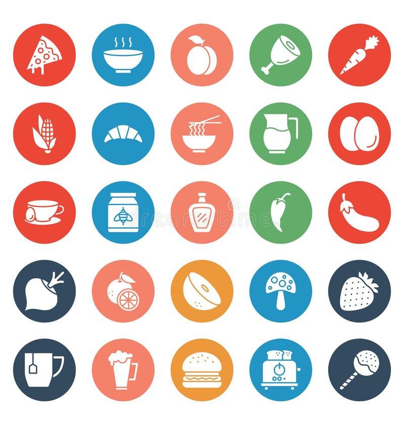 La comida, bebidas, frutas, verduras que los iconos del vector fijan eso puede ser modificada o corregir fácilmente la comida, be libre illustration