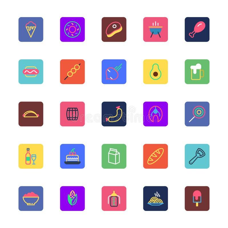 La comida, bebidas, frutas y verduras coloreó los iconos 4 del vector libre illustration